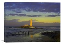 Coast St - Marys Lighthouse sunset moon rise 1 , Canvas Print