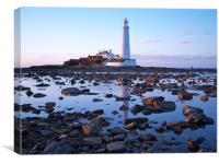 St Marys Island and Lighthouse., Canvas Print