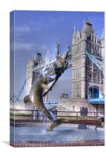 Girl with a Dolphin Tower Bridge, Canvas Print