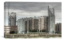 Thames side Flats, Canvas Print