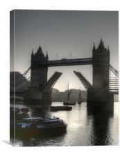 Sunrise at Tower Bridge HDR BW, Canvas Print
