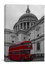 Red Bus and St Pauls, Canvas Print