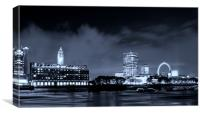 Night Oxo Tower skyline Blue, Canvas Print