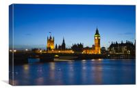 Houses of Parliament Night, Canvas Print