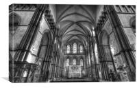 Rochester Cathedral interior HDR bw., Canvas Print