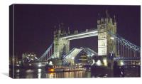 Tower Bridge Night Open, Canvas Print