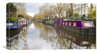 Regents Canal narrow boats, Canvas Print