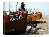 Fishing boats on the shore in Hastings, Canvas Print