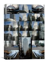 Collage of Canary Wharf docklands London, Canvas Print