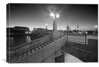 Lambeth Bridge London Thames at night Dusk, Canvas Print