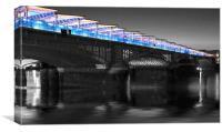 Blackfriars Bridge London Thames at night, Canvas Print