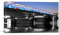 Blackfriars Bridge London Thames at night Dusk, Canvas Print