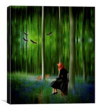 Red riding hood in Blue Bell wood   Digital art, Canvas Print