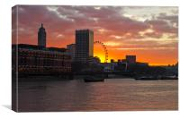 Oxo Tower London Eye Sunset, Canvas Print