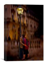 A Kiss Under the Lamp light, Canvas Print