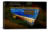 Whitstable Oysters old blue boat, Canvas Print