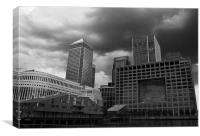 Stormy clouds over Canary Wharf, Canvas Print