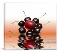 Fresh Cherries and Plums, Canvas Print