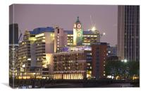 Night view of the Oxo Tower and Wharf, Canvas Print