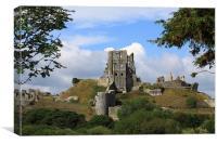 Corfe Castle and Corfe Dorset, Canvas Print
