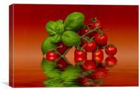 Plum Cherry Tomatoes Basil, Canvas Print