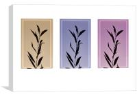 Autumn silhouettes  Leafs , triptych, Canvas Print