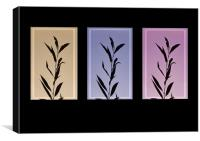 Autumn silhouettes  Leafs , triptych, Canvas Print