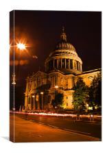 St Pauls Cathedral  at night, Canvas Print