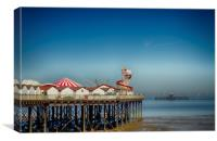 Herne Bay old and new pier Kent , Canvas Print