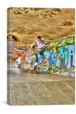 Southbank BMX graffiti Grunge, Canvas Print