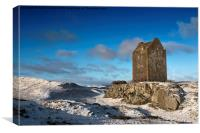 Smailholm Tower in the Snow, Canvas Print