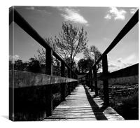 Old Wooden Bridge BW, Canvas Print