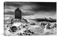 Smailholm Tower and The Eildon Hills, Canvas Print