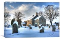 Ednam Kirk in the Snow, Canvas Print