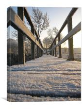Frosty Footbridge, Canvas Print