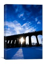 Balcombe Viaduct in the Snow at sunset, Canvas Print
