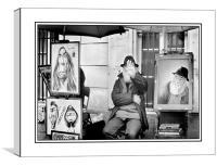 Camera shy artist, Canvas Print