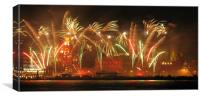 Fireworks on Liverpool Waterfront, Canvas Print