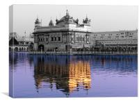 reflection of the golden temple in the Amrit Sarov, Canvas Print