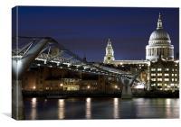 St Pauls Cathedral and Millenium Bridge - No Border , Canvas Print