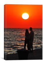 Couple enjoying a red sunset, Canvas Print