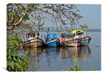 Anchored fishing boats in Goa, Canvas Print