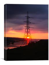 pylon sunset, Canvas Print