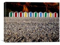 Row of colorful beach huts, Canvas Print