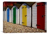 Wooden beach huts, Canvas Print