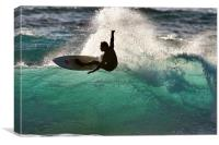 Surfing in Cornwall, Canvas Print