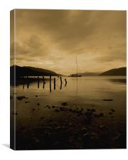 boat on loch ness at night, Canvas Print