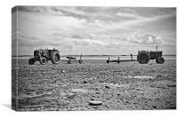 Seaside Tractors B&W, Canvas Print