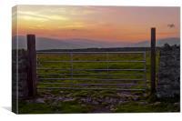 Farm gate at sunset, Canvas Print