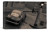 Aston Martin DB3 at Petrol Pump, Toned, Canvas Print